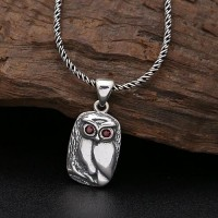 "Sterling Silver Owl Pendant Necklace with Sterling Silver Rope Chain 18""-24"""