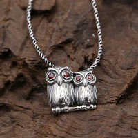 "Sterling Silver Owls Pendant Necklace with Sterling Silver Rope Chain 18""-24"""