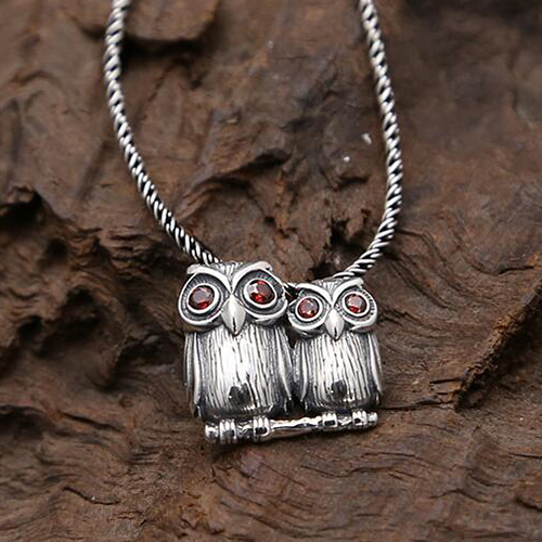 Sterling silver owls pendant necklace jewelry1000 sterling silver owls pendant necklace with sterling silver rope chain mozeypictures Image collections