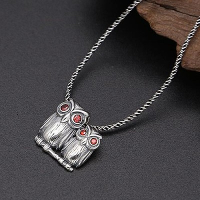"""Sterling Silver Owls Pendant Necklace with Sterling Silver Rope Chain 18""""-24"""""""