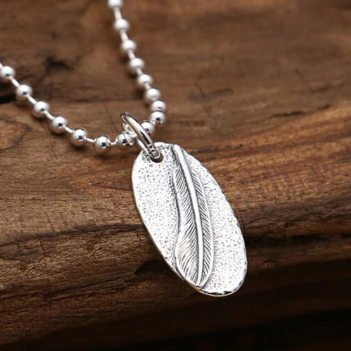 "Sterling Silver Feather Tag Necklace with Sterling Silver Bead Chain 18""-30"""