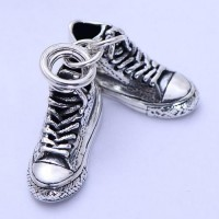 "Sterling Silver Sneakers Necklace with Sterling Silver Wheat Chain 18""-30"""