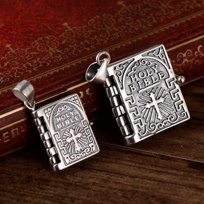 """Sterling Silver Tiny Bible Necklace with Sterling Silver Coreanna Chain 18""""-24"""""""