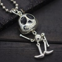 "Sterling Silver Cute Skull Necklace with Sterling Silver Bead Chain 18""-30"""