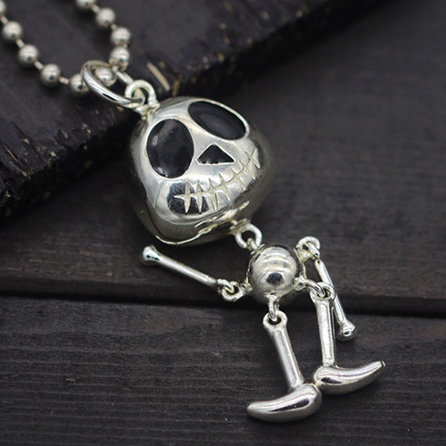 "Sterling Silver Cute Skull Necklace with Sterling Silver Bead Chain 18""-28"""