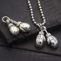 "Sterling Silver Boxing Gloves Necklace with Sterling Silver Bead Chain 18""-28"""