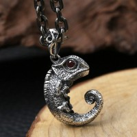 "Sterling Silver Cute Lizard Necklace with Sterling Silver Anchor Link Chain 18""-30"""