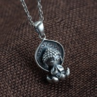 "Sterling Silver Cute Buddha Necklace with Sterling Silver Anchor Link Chain 18""-30"""