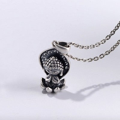 """Sterling Silver Cute Buddha Necklace with Sterling Silver Anchor Link Chain 18""""-30"""""""