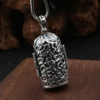 """Sterling Silver Buddhist Three Sages Necklace with Sterling Silver Wheat Chain 18""""-30"""""""