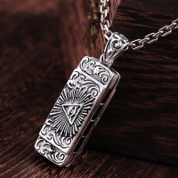 "Sterling Silver All-Seeing Eye Harmonica Necklace with Sterling Silver Anchor Link Chain 18""-30"""