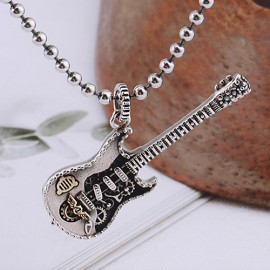 "Sterling Silver Guitar Necklace with Sterling Silver Bead Chain 18""-30"""