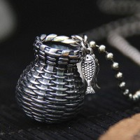 """Sterling Silver Fish Basket Necklace with Sterling Silver Bead Chain 18""""-30"""""""