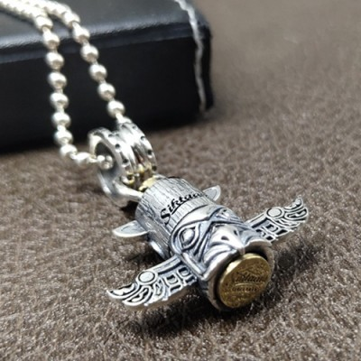 """Sterling Silver Totem Pole Necklace with Sterling Silver Bead Chain 18""""-30"""""""