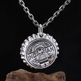 """Sterling Silver Indian Chief Bottle Cap Necklace with Sterling Silver Anchor Chain 18""""-30"""""""