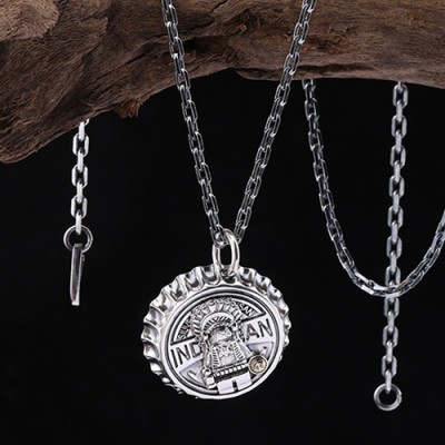 "Sterling Silver Indian Chief Bottle Cap Necklace with Sterling Silver Anchor Chain 18""-30"""