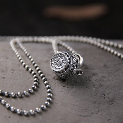 "Women's Sterling Silver Hollow-out Locket Necklace With Sterling Silver Bead Chain 18""-30"""