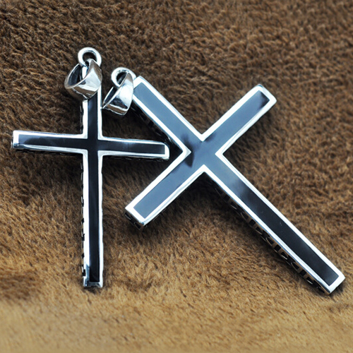 "Men's Sterling Silver Cross Pendant Necklace with Sterling Silver Wheat Chain 18""-24"""
