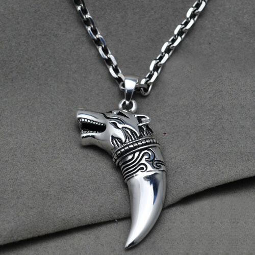 "Men's Sterling Silver Wolf Head Pendant Necklace with Sterling Silver Anchor Link Chain 18""-28"""