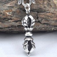 "Men's Sterling Silver Vajra Pestle Pendant Necklace with Sterling Silver Rolo Chain 18""-24"""