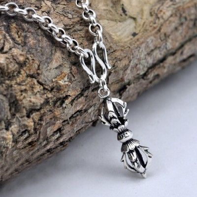 """Men's Sterling Silver Vajra Pestle Pendant Necklace with Sterling Silver Rolo Chain 18""""-24"""""""
