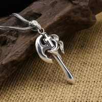 "Men's Sterling Silver Axe Cross Pendant Necklace with Sterling Silver Wheat Chain 18""-30"""
