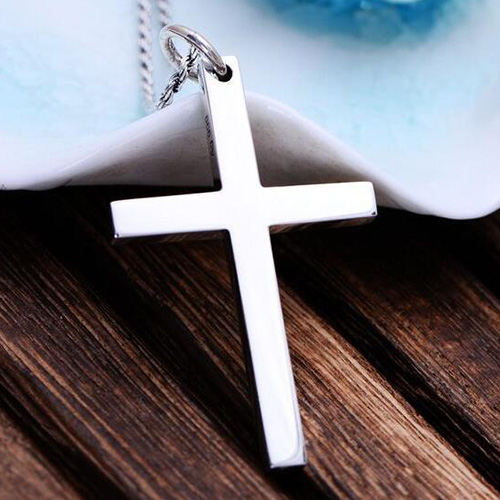 "Men's Fine Silver Plain Cross Necklace with Sterling Silver Rope Chain 18""-30"""