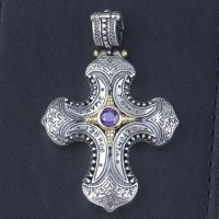 """Men's Sterling Silver King's Cross Pendant Necklace with Sterling Silver Rolo Chain 20""""-30"""""""