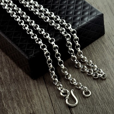 "Men's Sterling Silver King's Cross Pendant Necklace with Sterling Silver Rolo Chain 20""-30"""