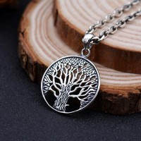 "Men's Sterling Silver Tree of Life Pendant Necklace with Sterling Silver Anchor Link Chain 18""-28"""