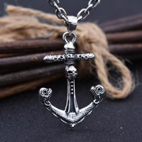 "Men's Sterling Silver Pirate Anchor Pendant Necklace with Sterling Silver Anchor Link Chain 18""-28"""