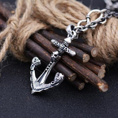 """Men's Sterling Silver Pirate Anchor Pendant Necklace with Sterling Silver Anchor Link Chain 18""""-28"""""""