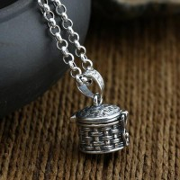 "Men's Sterling Silver Treasure Box Necklace with Sterling Silver Rolo Chain 18""-30"""