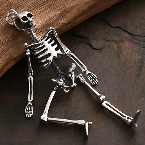 Sterling silver skeleton pendant necklace jewelry1000 sterling silver skeleton pendant necklace with sterling silver bead chain aloadofball Image collections