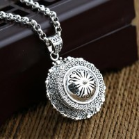 "Men's Sterling Silver Gawubox Necklace with Sterling Silver Rolo Chain 18""-30"""