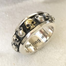Men's Sterling Silver Skulls Spinner Ring
