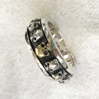 Men's Sterling Silver Skulls Spinner Ring