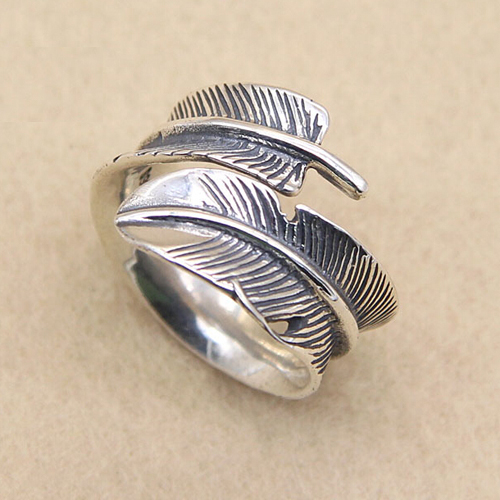 Sterling Silver Feather Ring for Men