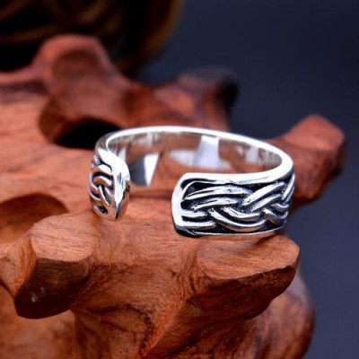 Men's Sterling Silver Rope Pattern Wrap Ring