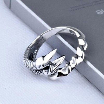 Men's Sterling Silver Dragon Claw Wrap Ring