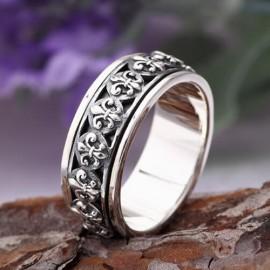 Men's Sterling Silver Fleur Spinner Ring