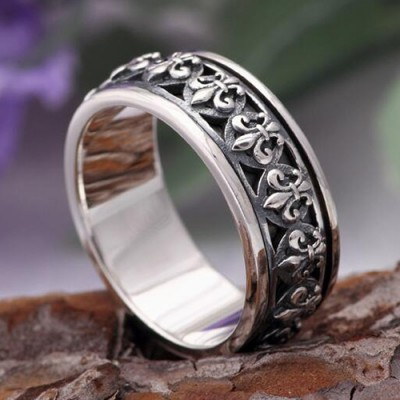 Men's Sterling Silver Fleur Spinner Ring