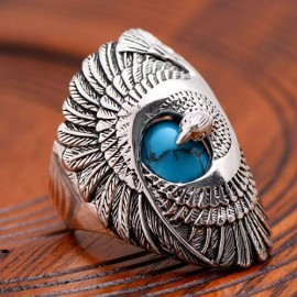 Men's Sterling Silver Turquoise Eagle Ring