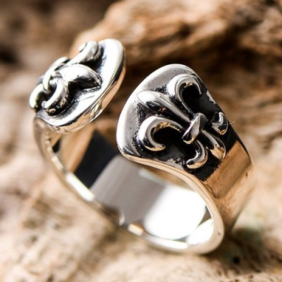Men's Sterling Silver France Fleur de Lis Wrap Ring