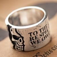 Men's Sterling Silver Skull Wide Band Ring