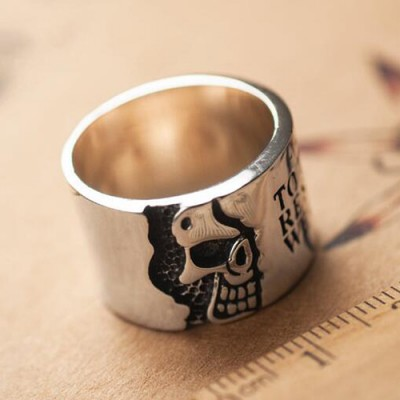 Men's Sterling Silver Skull Wide Band Ring