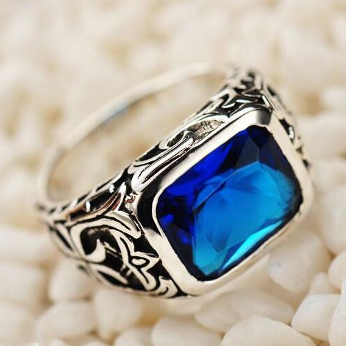 Men's Sterling Silver Blue Crystal Ring