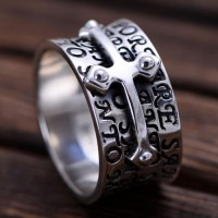 Men's Sterling Silver Cross Band Ring