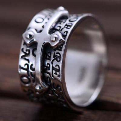 Men's Sterling Silver Cross Band Ring