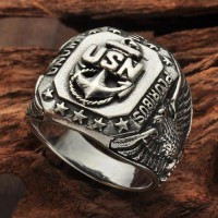 Men's Sterling Silver USN Ring